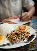 Rice with meat and a fried egg (Laos, Asia)