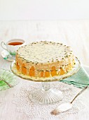 Sponge layer cake with passion fruit icing