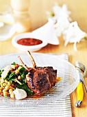 Harissa lamb chops with chickpea salad