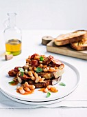 Toast with beans and chorizo