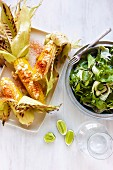 Spicy corn cobs with a herb & fennel salad (Mexico)