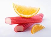 Rhubarb pieces and orange wedges
