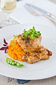 Chicken with Carrot Puree and Peas