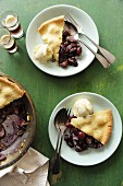 Grape cobbler with vanilla ice cream