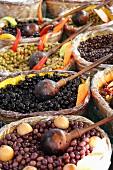 Olives in baskets at the market