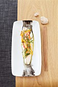 Steamed plaice with julienne vegetables