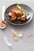 Marinated chicken with orange juice, ginger, allspice, soy sauce and lemon (Jamaica)
