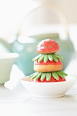 Religieuse iced to look like strawberries (France)