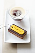 Individual chocolate torte with a marzipan label