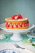 Strawberry Fraisier cake on a cake stand