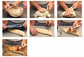 Crusty bread being baked