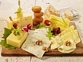 A mixed cheese platter