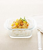 Chicken Colombo with mango on a bed of rice