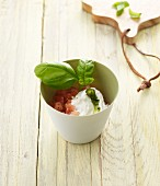 Tomato relish with a goat's cheese cream and basil