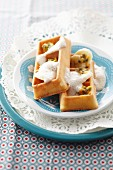 Waffles with banana, passion fruit and ginger foam