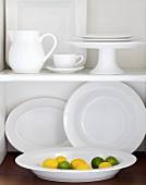 White Dishware with Lemons and Limes