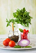 Tomatoes, Red Onion, Capers and Basil
