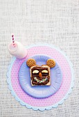 Toast with chocolate spread and a smiling face