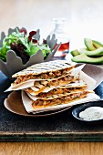 Quesadillas with turkey and olive filling