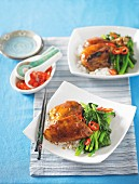 Sticky chicken with chinese broccoli