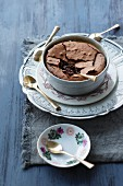 Coffee & chocolate pudding in a small bowl
