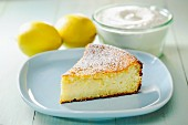 A slice of lemon and ricotta cheesecake