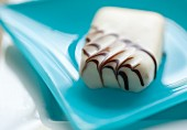 White Chocolate Truffle on a Blue Plate