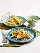 Chicken noodle satay skewers