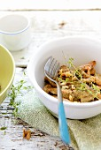 Chicken with walnut & thyme pesto
