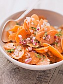 Carrot salad with red onions and dill