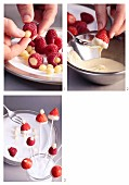 Strawberries and raspberries being dipped in white chocolate