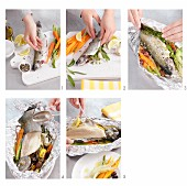 Making trout with vegetables in foil