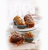 Caramel apple & walnut cupcakes, Chocolate Orange poppyseed swirl