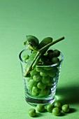 Fresh peas in a glass