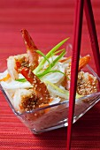 Rice noodles with sesame prawns