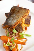 Sweet and sour sea bass with carrots