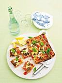 Lamb, fetta and basil pizza