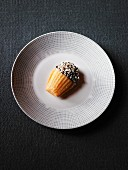 Madeleine dipped in chocolate and grated coconut