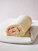 Sponge roll with rhubarb and vanilla cream