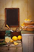 A still life featuring lemons in the kitchen