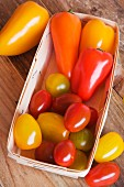 Yellow and red tomato and pepper varieties