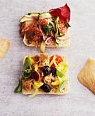 A tuna sandwich and a salami sandwich