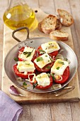 Baked tomatoes with ewe's cheese, herbs and olive oil
