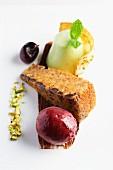 Hazelnut cake with cherry sorbet