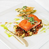Grilled Wild King Salmon with a Ratatouille of Local Squash, Herbs de Provence, Roasted Eggplant Puree, Crispy Squash Blossom