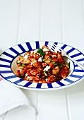 Gigantes plaki (baked white beans in tomato sauce with feta, Greece)