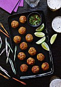 Meatballs with lime and a chilli & coriander dip (Asia)
