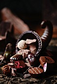 Chocolate horn of plenty with assorted chocolates