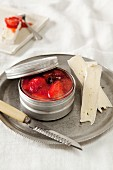 Soft cheese with strawberry and rhubarb compote