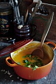 Carrot soup with mustard and coriander in a pot